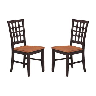 Darby Home Co Espy Lattice Back Solid Wood Dining Chair (Set of 2)