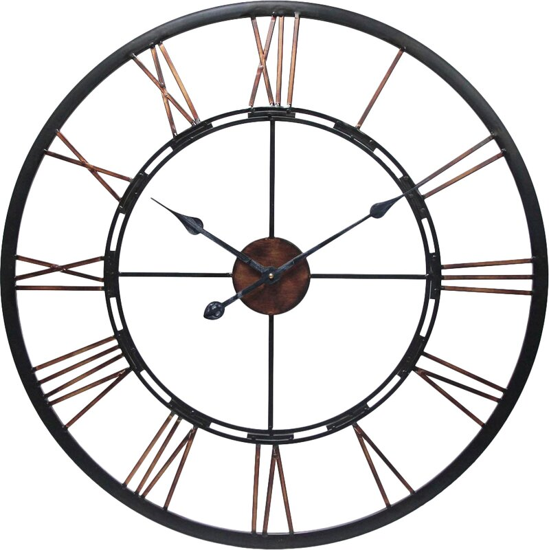 Wall Clock Art august grove drew oversized metal wall clock & reviews | wayfair