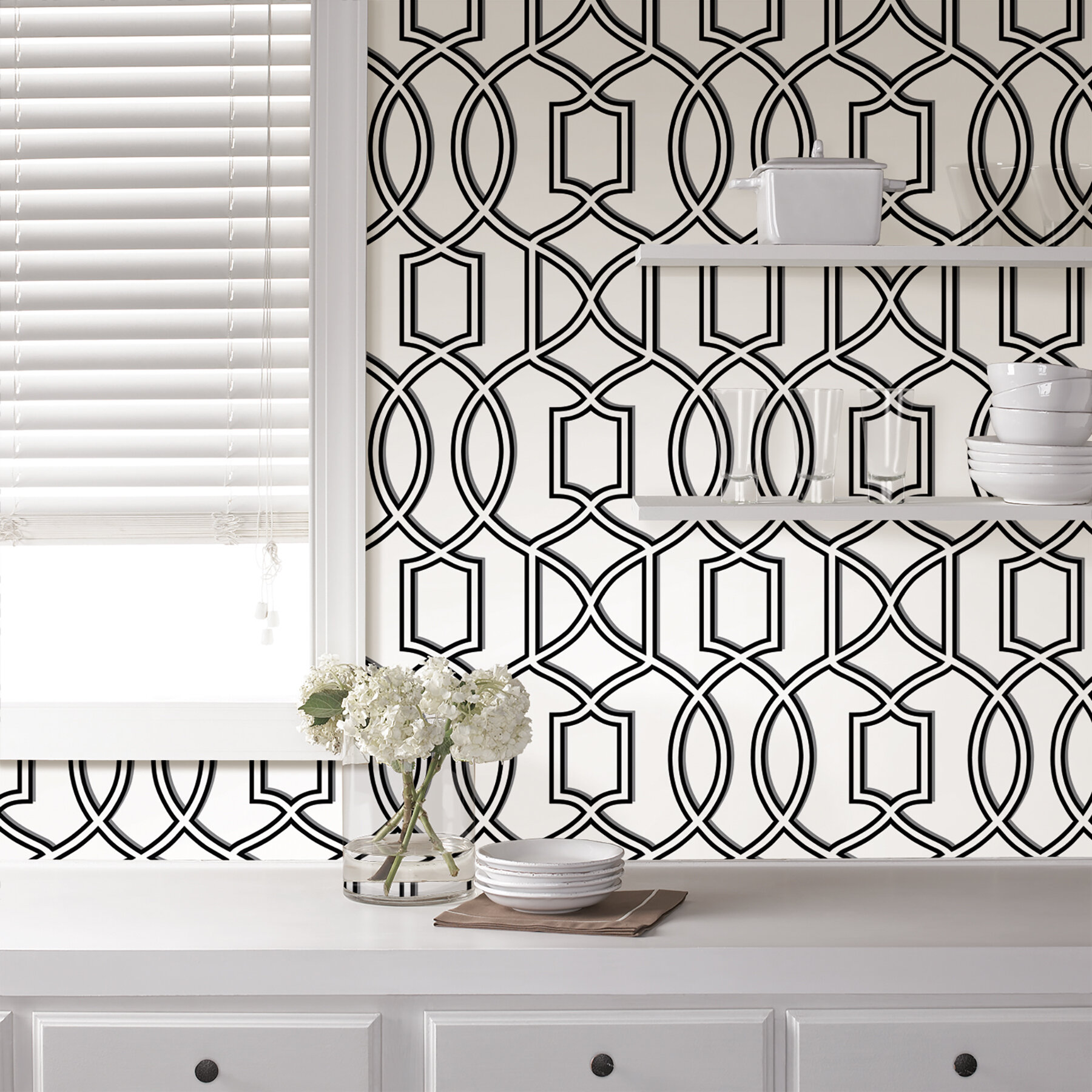 Nu 18 X 20 5 Uptown Trellis Black White Peel And Stick Wallpaper