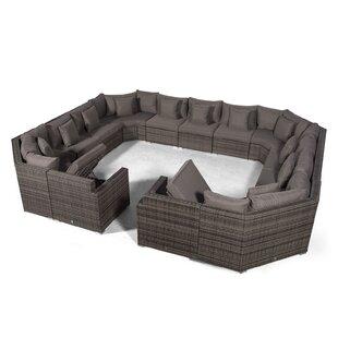 Villasenor Grey Rattan U Shape 13 Seat Sofa With 2 X Rectangle Coffee Table, Outdoor Patio Garden Furniture Image