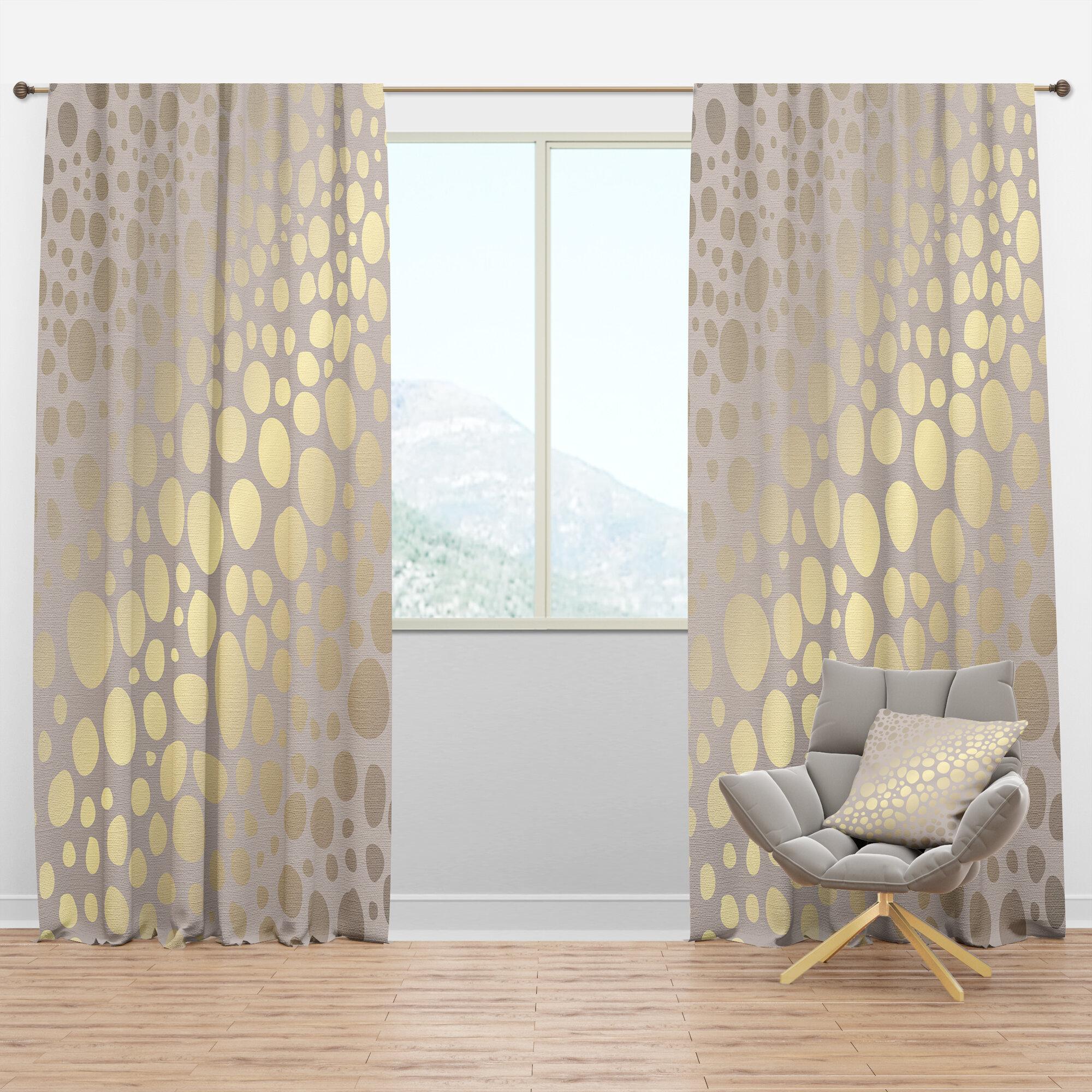 Designart Mid Century Marble Design Iii Geometric Semi Sheer Thermal Rod Pocket Curtain Panels Wayfair