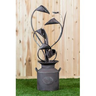 Hi-Line Gift Ltd. Metal Calla Lilu with Leaves in a Jug Fountain