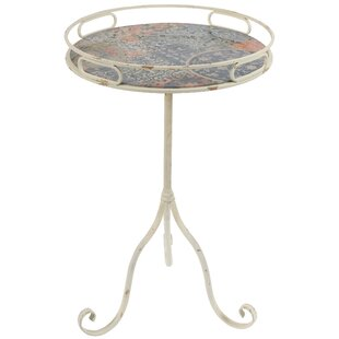 French Floral Tray End Table