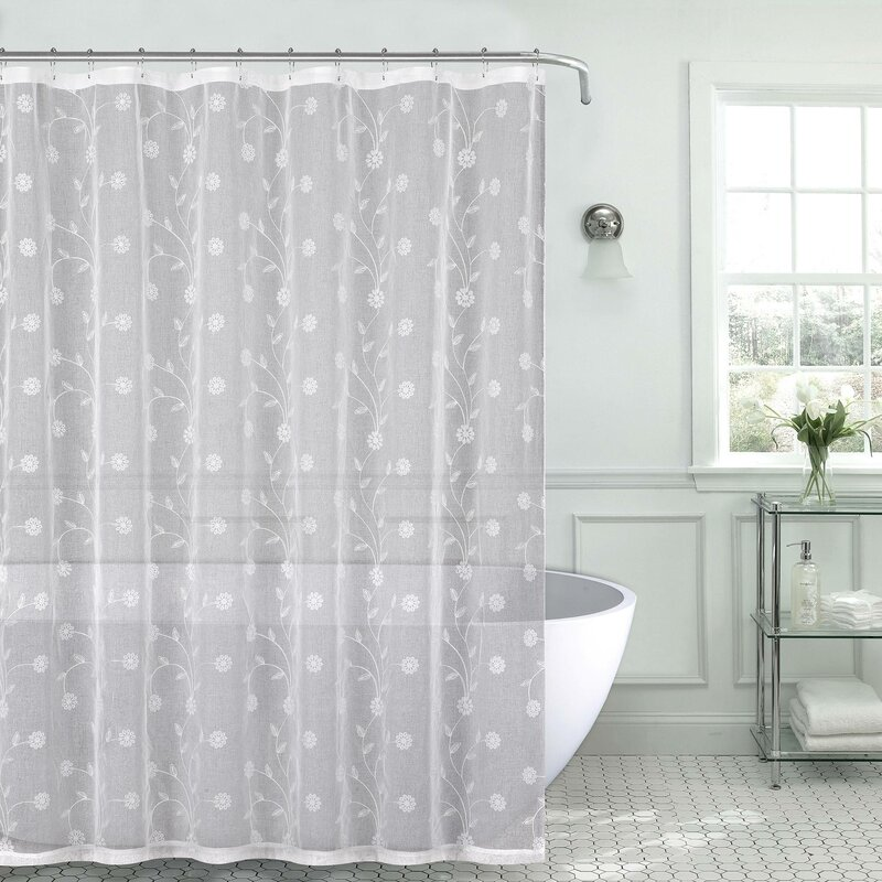 Mirtha Nature Floral Metallic Daisy Embroidered Sheer Fabric Shower Curtain