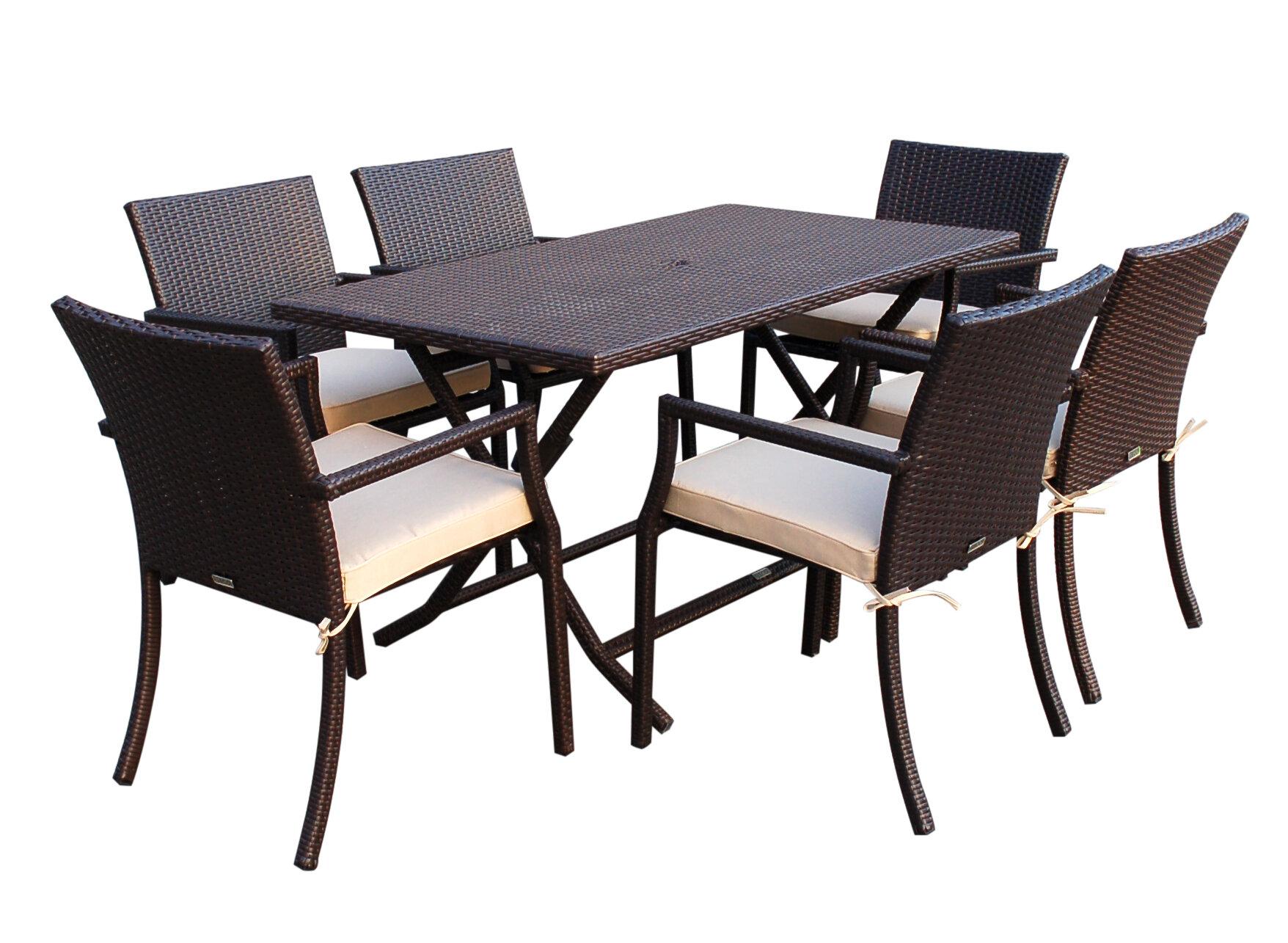 Jeco Inc 7 Piece Dining Set With Cushions Amp Reviews Wayfair