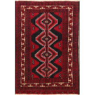 One-of-a-Kind Stills Tribal Foyer Balouch Persian Hand-Knotted 4' 3'' x 6' 2'' Wool Red/Black Area Rug Isabelline