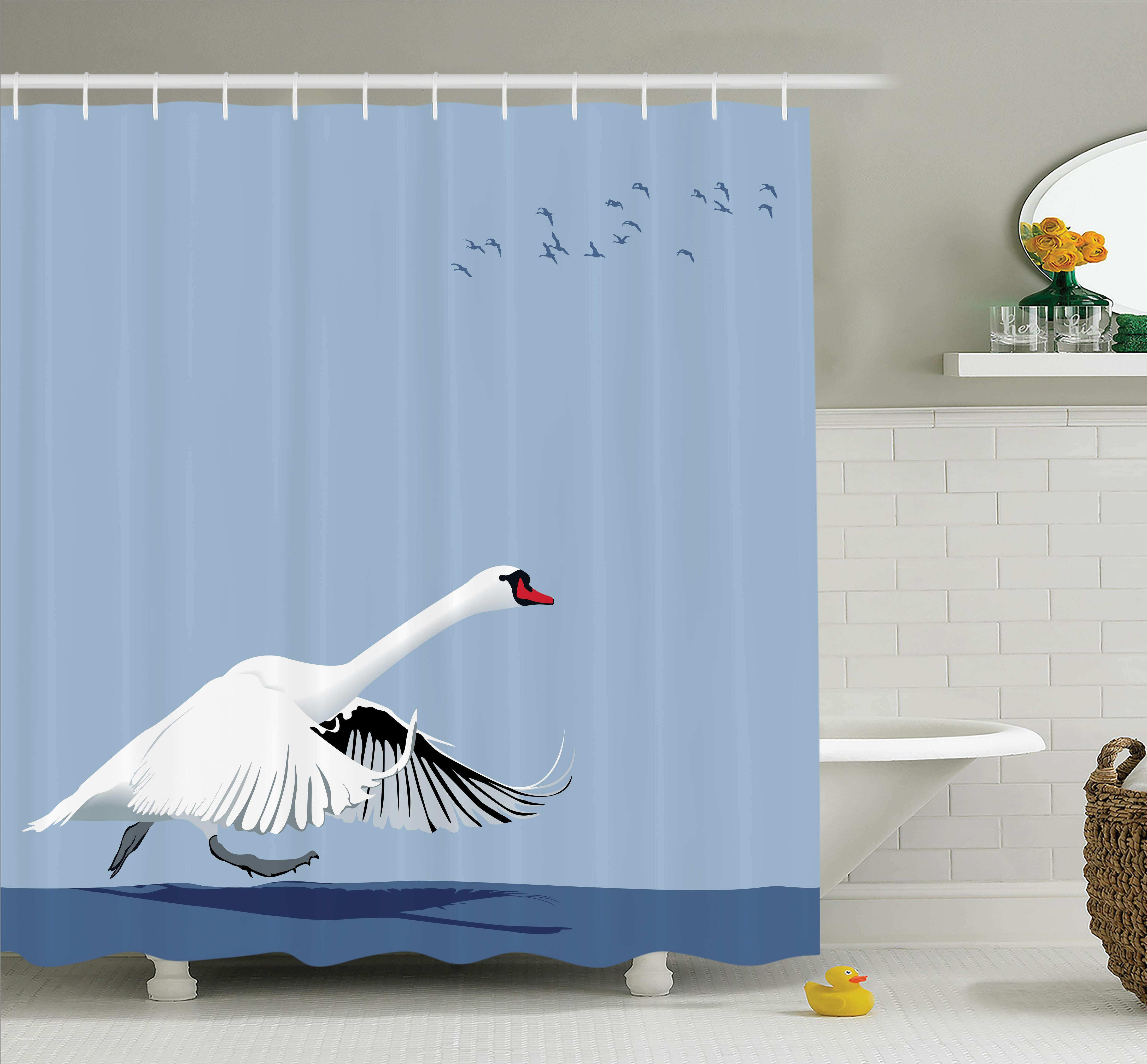 Ambesonne Swan Wildlife Animal Shower Curtain Set | Wayfair