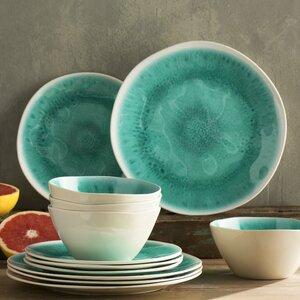 Devere Glaze Melamine 12 Piece Dinnerware Set, Service for 4