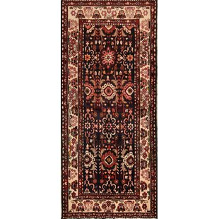 Big Save One-of-a-Kind Goldville Bakhtiari Vintage Persian Geometric Hand-Knotted Runner 3'8 x 8'5 Wool Black/Ivory/Brown Area Rug By Isabelline