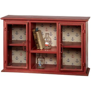 Breakwater Bay Prentiss Distressed Wall Cabinet with Anchor Pattern