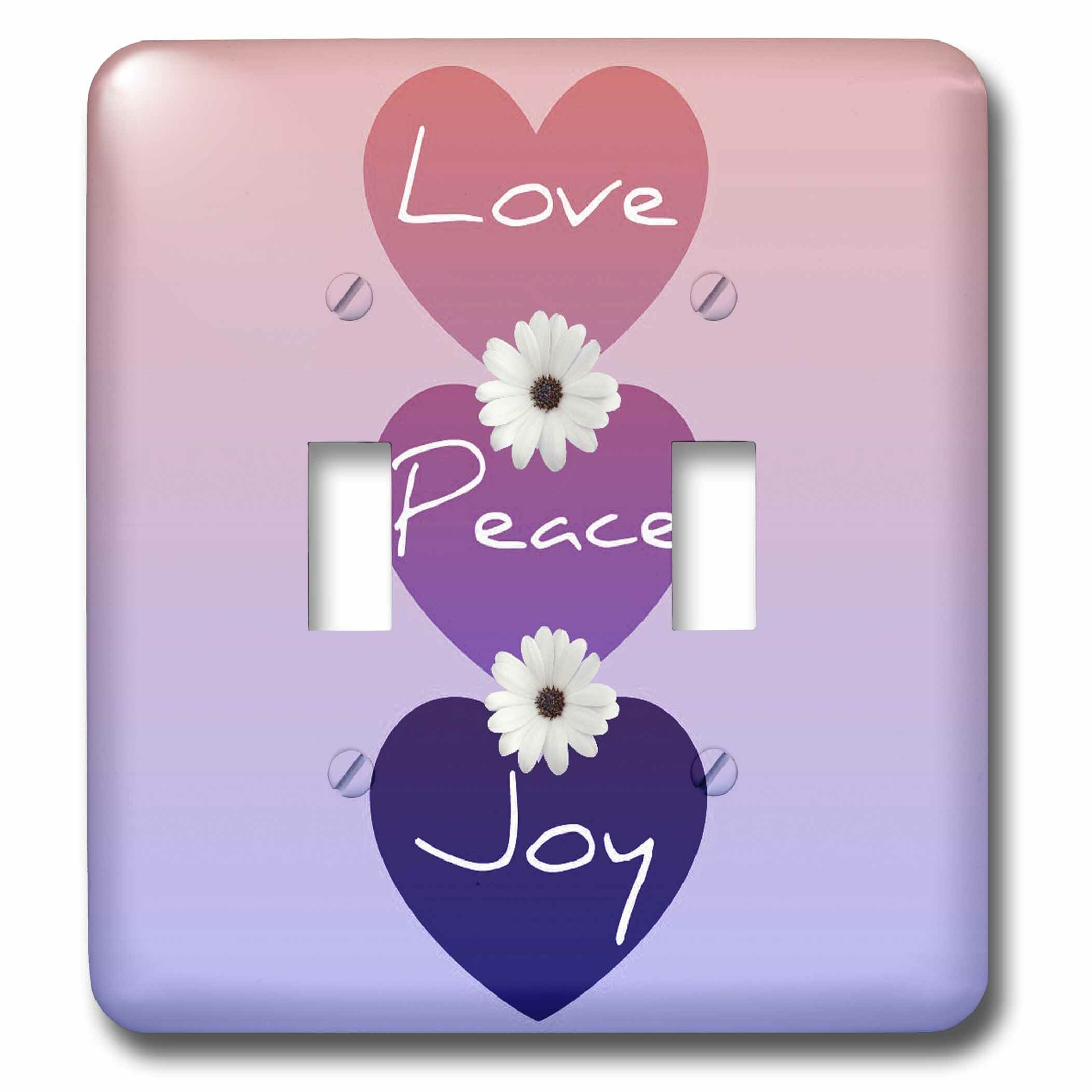 3drose Peace Love Joy Hearts With Flowers 2 Gang Toggle Light Switch Wall Plate Wayfair