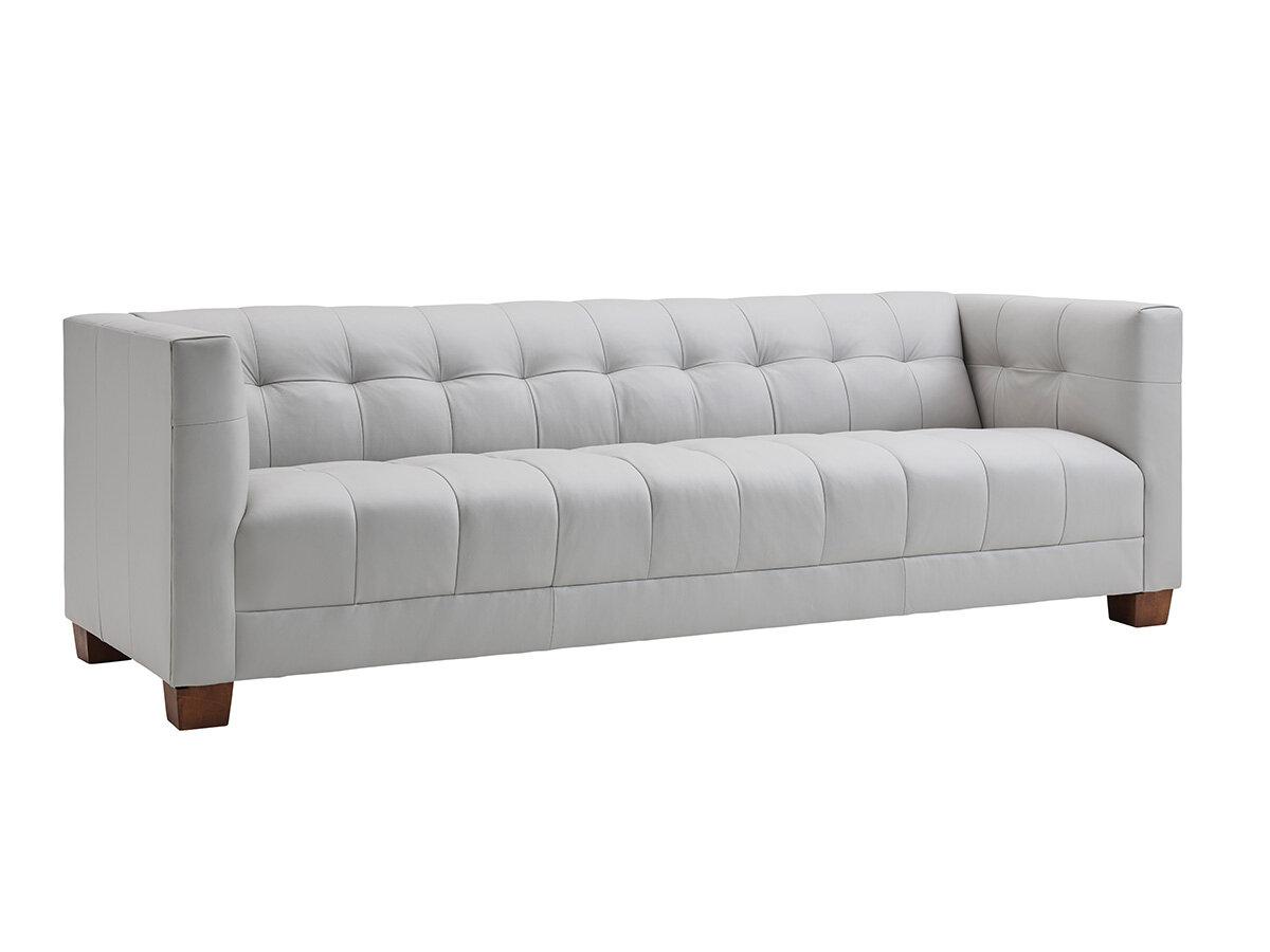 Lexington Kitano 98 Wide Genuine Leather Square Arm Sofa