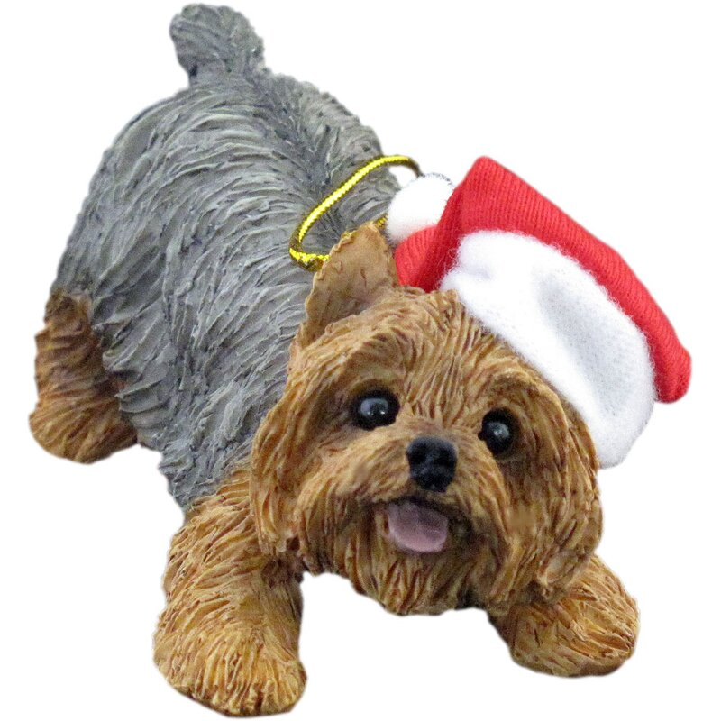 Sandicast Crouching Yorkshire Terrier Christmas Ornament & Reviews ...