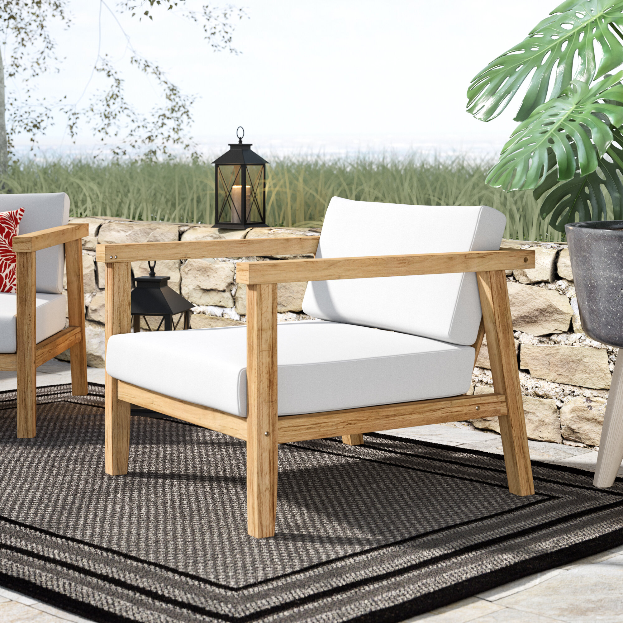 Bayou breeze edmeston outdoor teak chair with cushions reviews wayfair