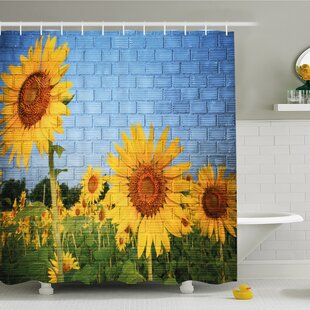 Rustic Home Sunflowers on Wall Peaceful Habitat Meadow Valley in Rural Village Shower Curtain Set Ambesonne