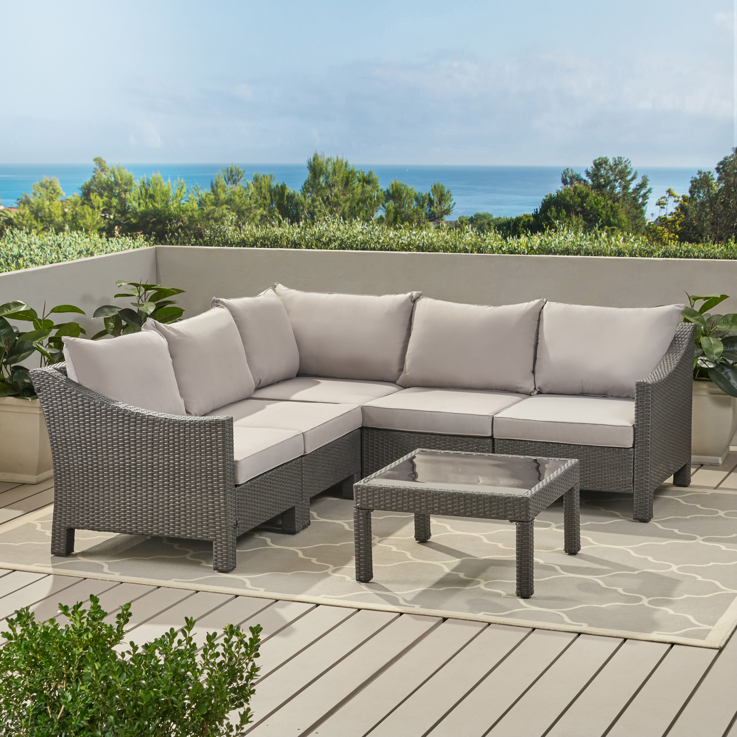 Sol 72 Outdoor Coast 6 Piece Rattan Sectional Seating Group With Cushions Reviews Wayfair