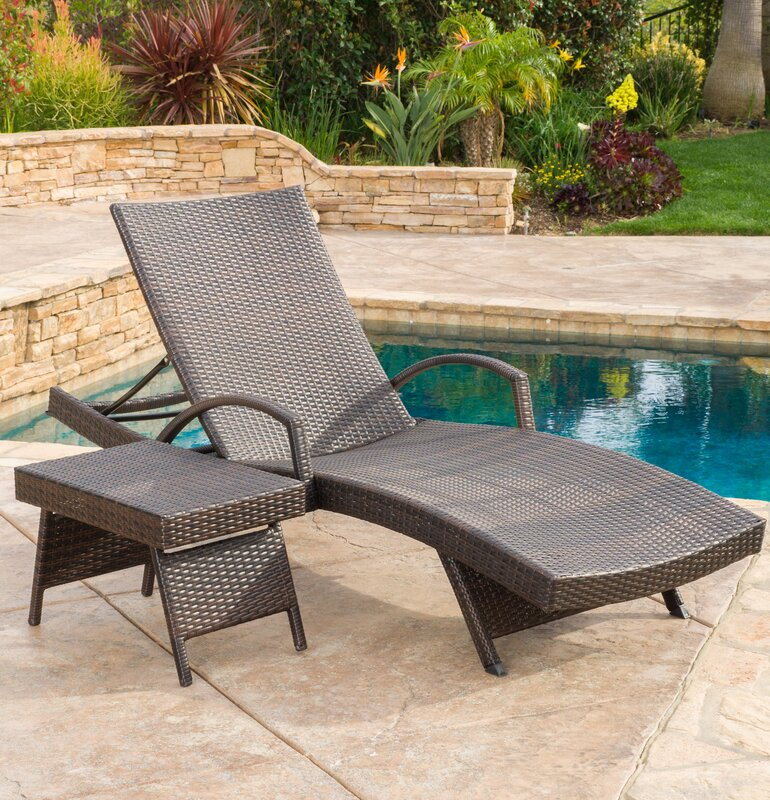 Awesome Peyton Adjustable Wicker Chaise Lounge And Table Set Part 24