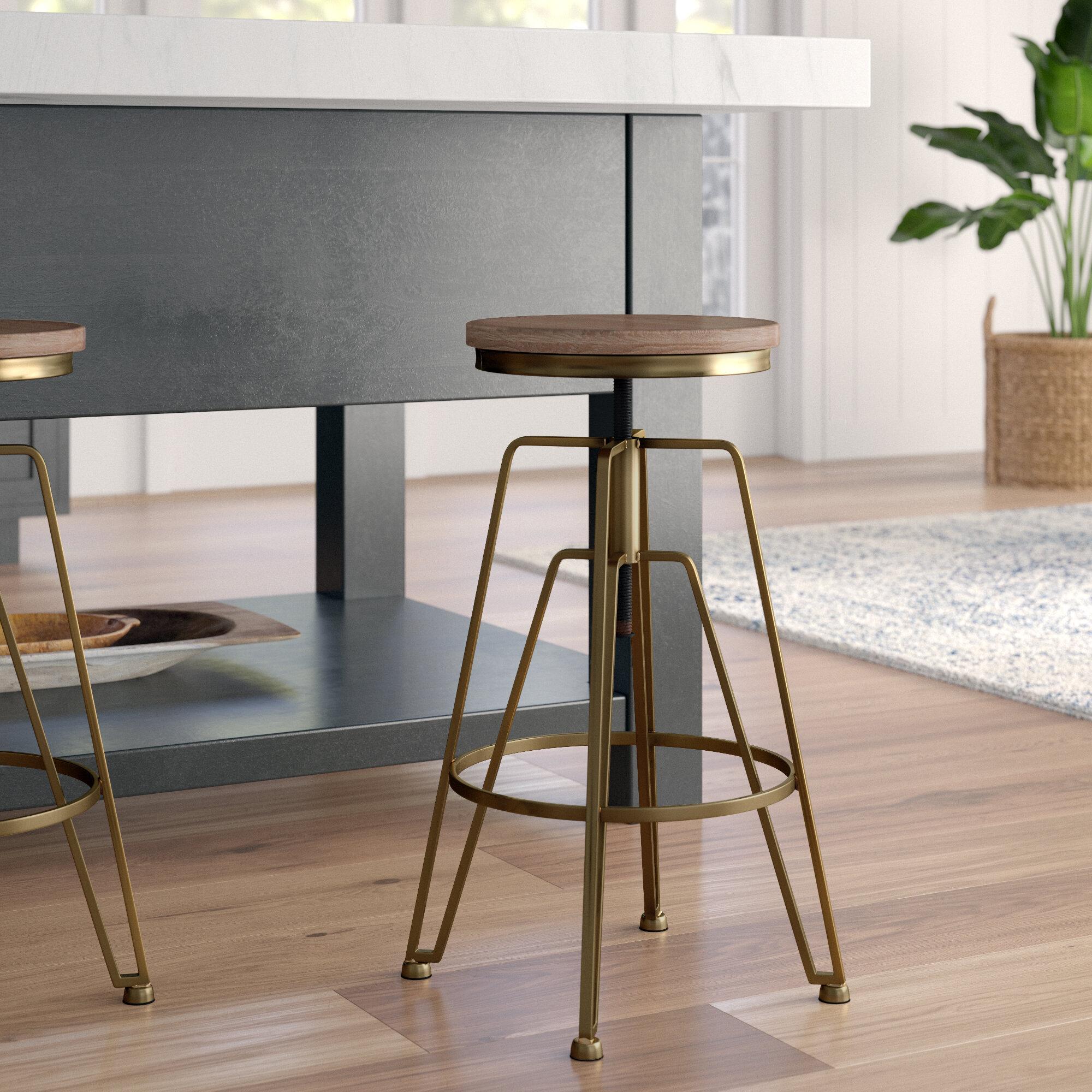 Rose Gold Kitchen Bar Stools Mesmerizing Mistana Maureen Adjustable Height Swivel Bar Stool Reviews 5591 4