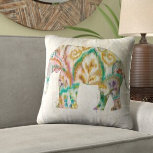 Lorine 'Boho Paisley Elephant' Velvet Throw Pillow