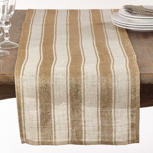 Eslinger Striped Metallic Burlap Table Runner