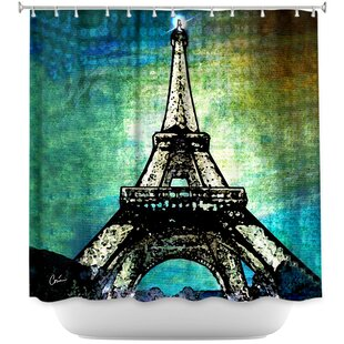 Paris Eiffel Tower Night Single Shower Curtain