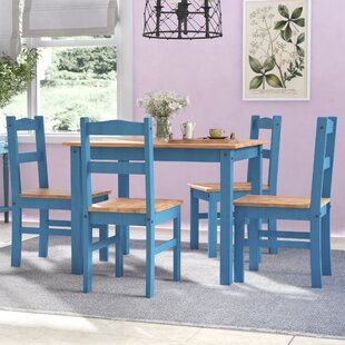 Rodgers 5 Piece Solid Wood Dining Set by Gracie Oaks