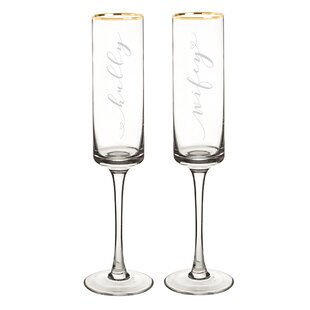 Wedding Hubby And Wifey Gold Rim Contemporary Champagne Flutes