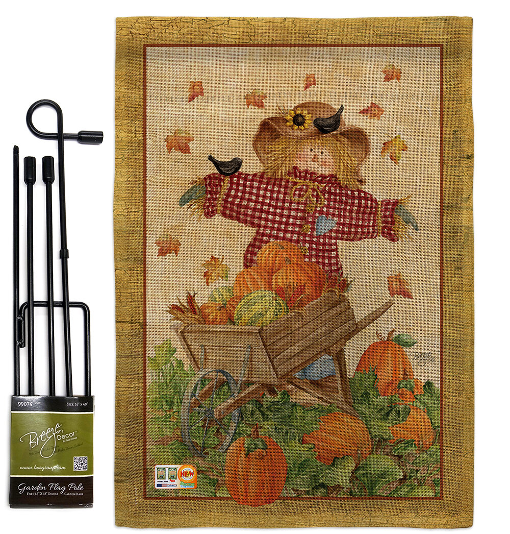 Breeze Decor Scarecrow Fall Harvest And Autumn Impressions 2 Sided Burlap 19 X 13 In Flag Set Wayfair