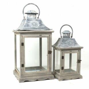Traditional 2 Piece Wood/Metal Lantern Set By One Allium Way