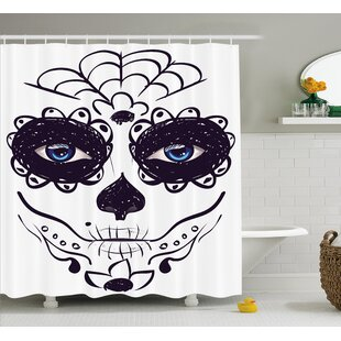 Lorie Day of The Dead Dia De Los Muertos Sugar Skull Girl Face With Mask Make Up Single Shower Curtain