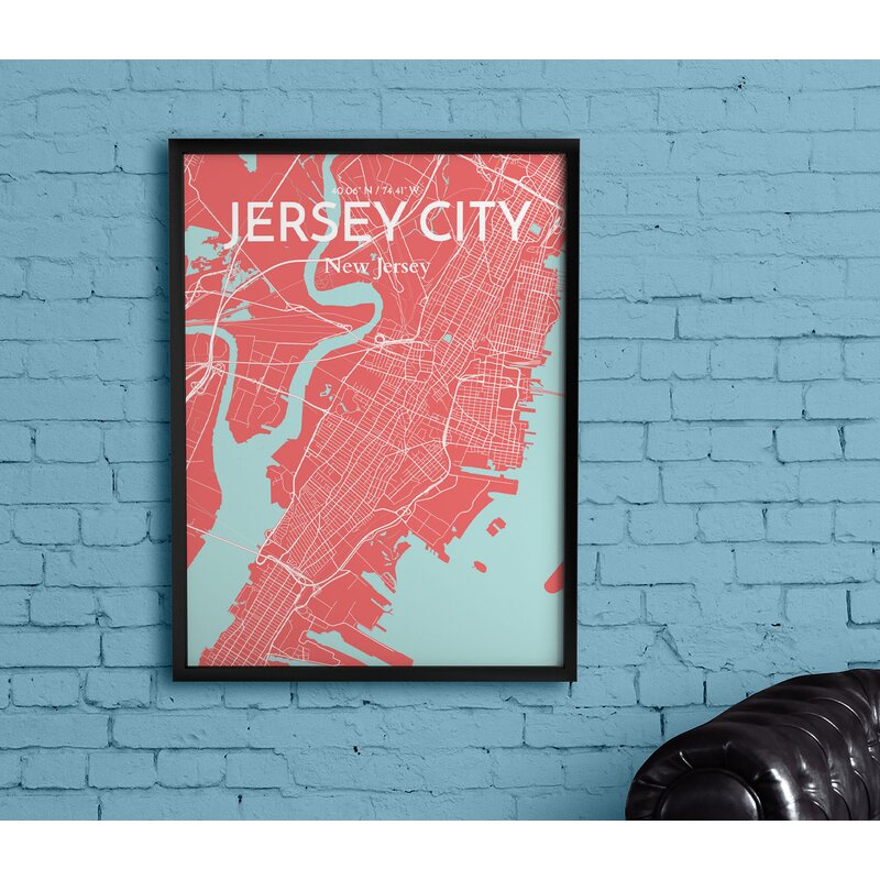 'Jersey City City Map' Graphic Art Print Poster in Pink - City Map Wall Decorations