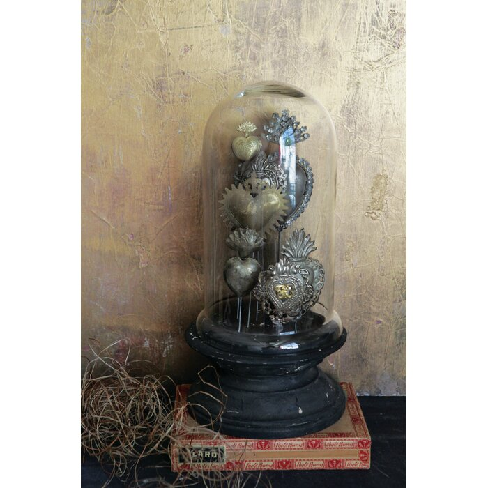 Traditional Decorative Tin Sacred Hearts On Wood Pedestal With Glass Cloche