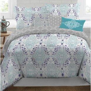 Nicole Miller Aqua/Purple Reversible Comforter Set