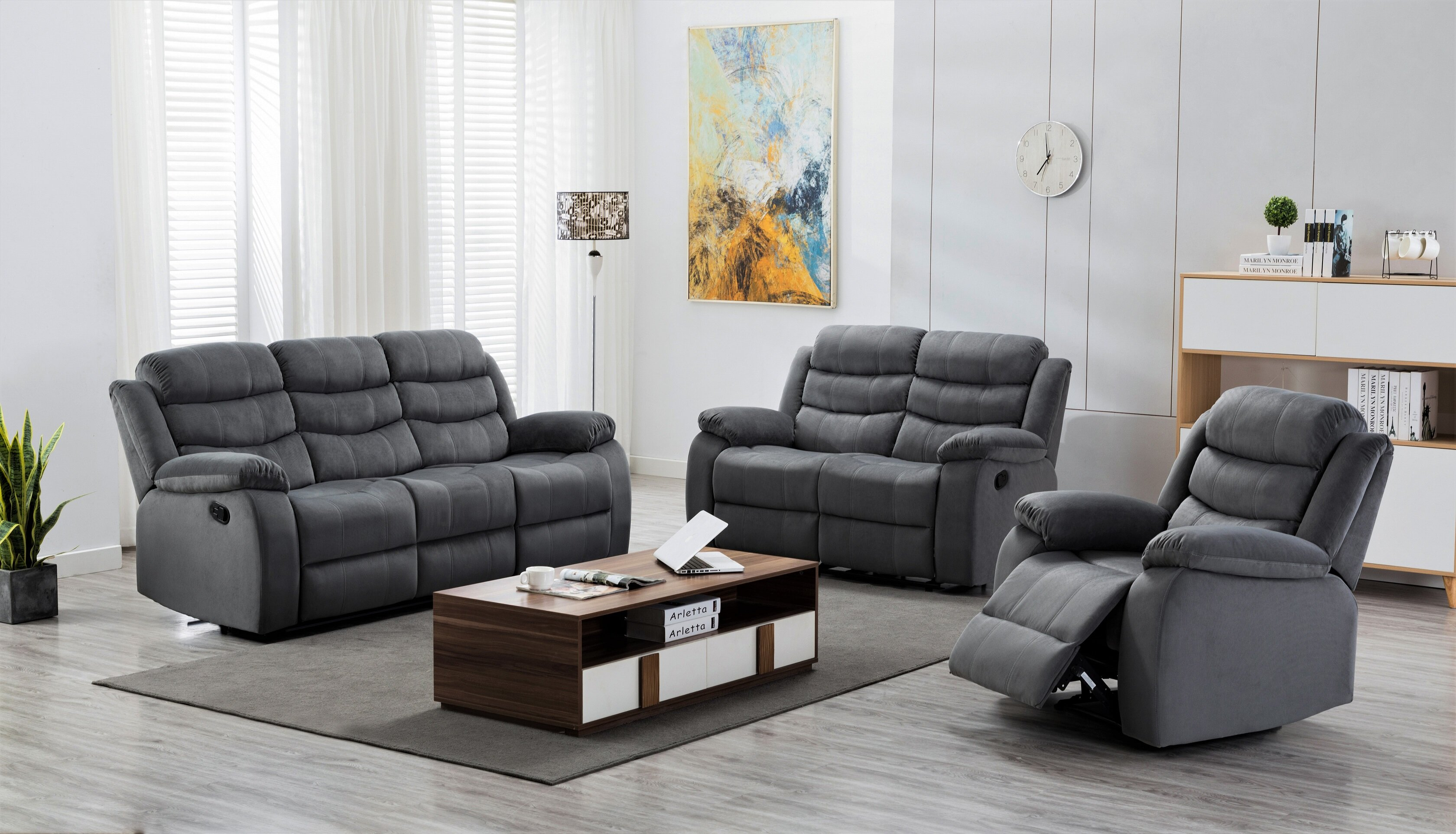 Mapes 3 Piece Reclining Living Room Set