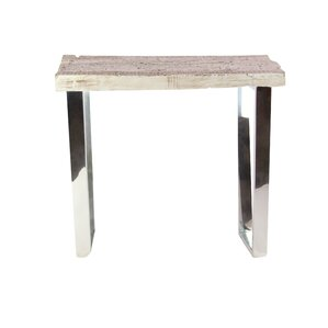 Brayden Studio Womble Contemporary Wood and Stainless Steel End Table
