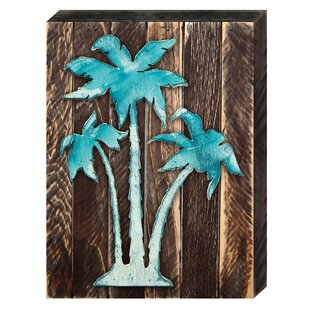 Vintage Tropical Island Palm Tree On Reclaimed Wooden Board Wall Décor