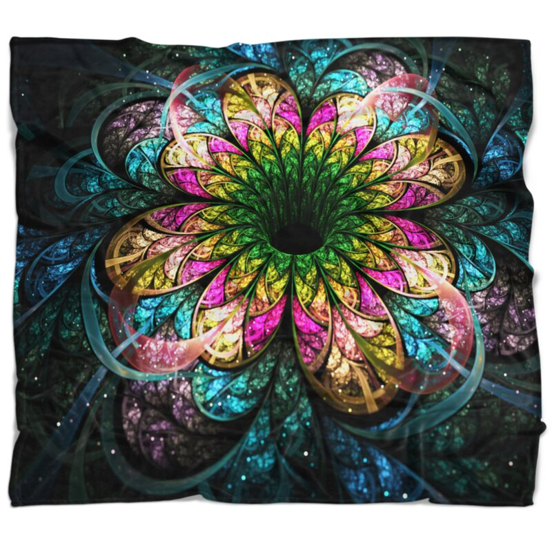 East Urban Home Floral Fractal Digital Art Blanket Wayfair