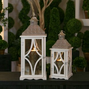Urban Trends 2 Piece Wood/Metal Lantern Set