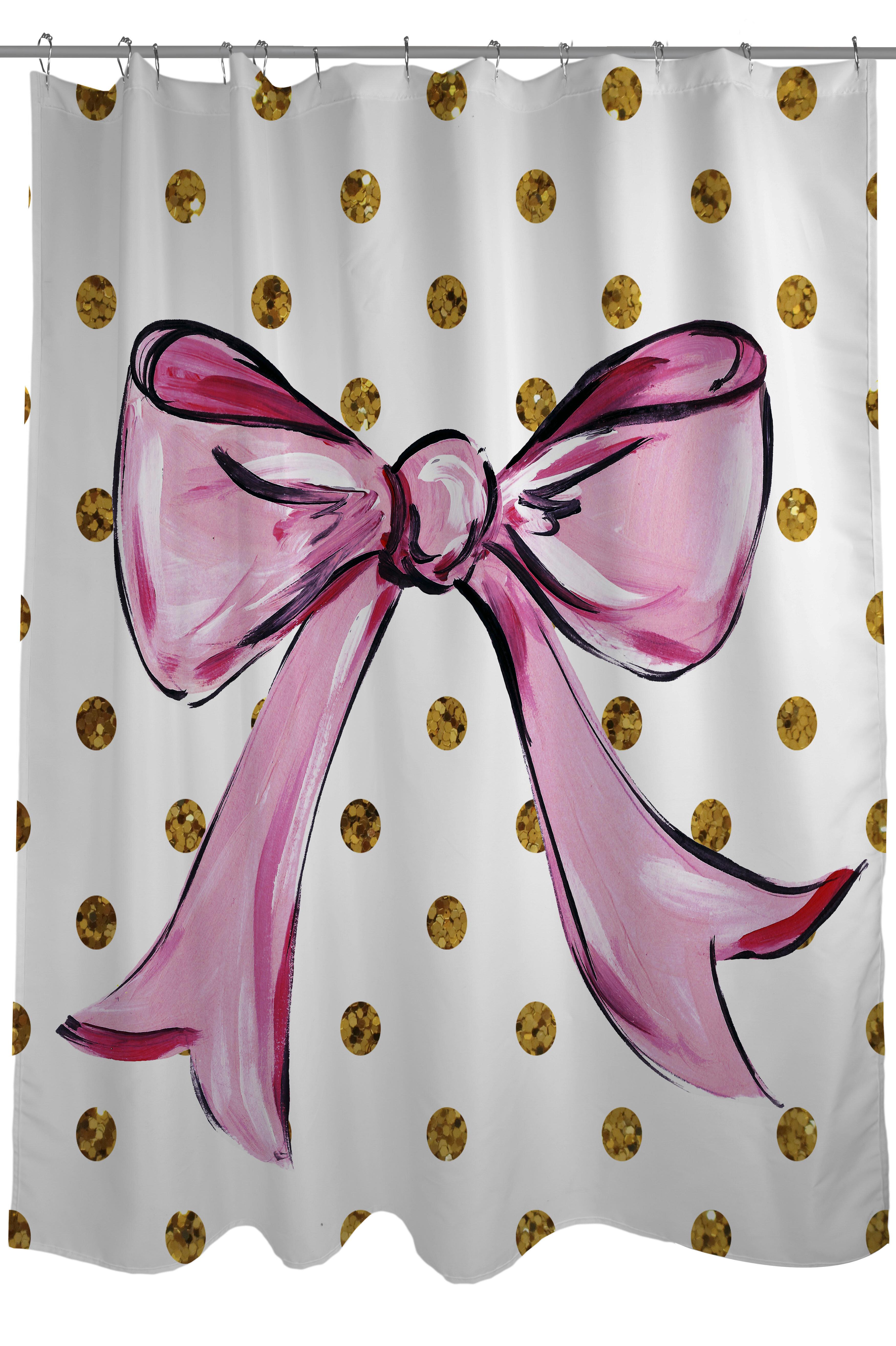 One Bella Casa Bow Dots Shower Curtain & Reviews | Wayfair