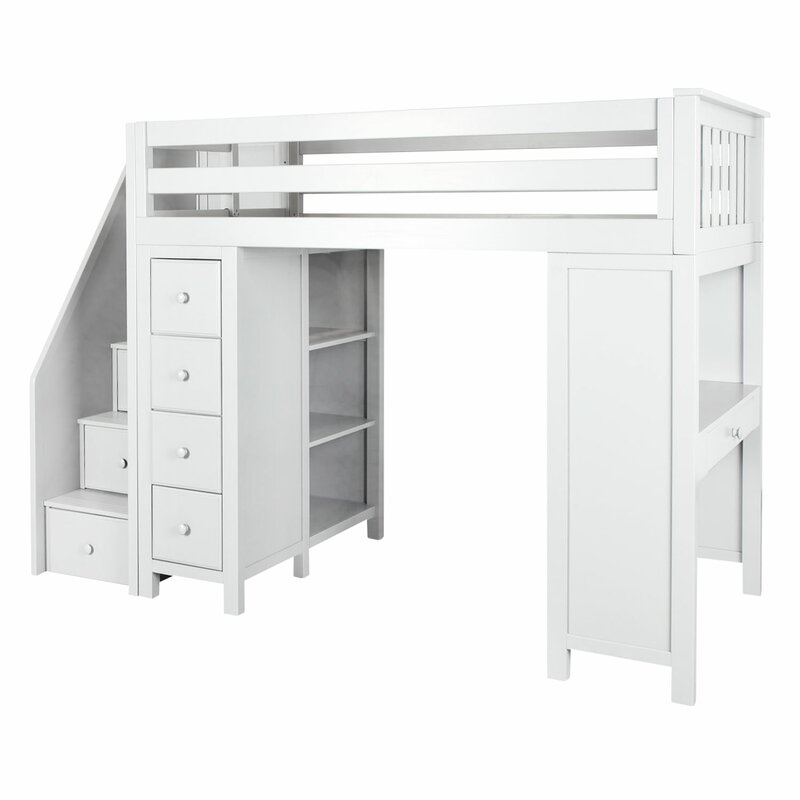 Harriet Bee Deshotel Twin Loft Bed With Drawers And Shelves Reviews Wayfair