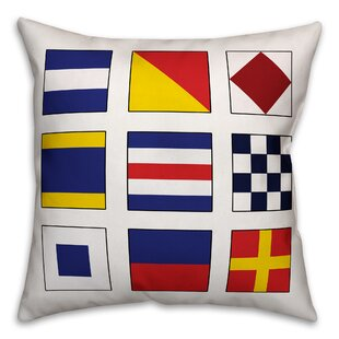 Zabel Nautical Flag Outdoor Throw Pillow