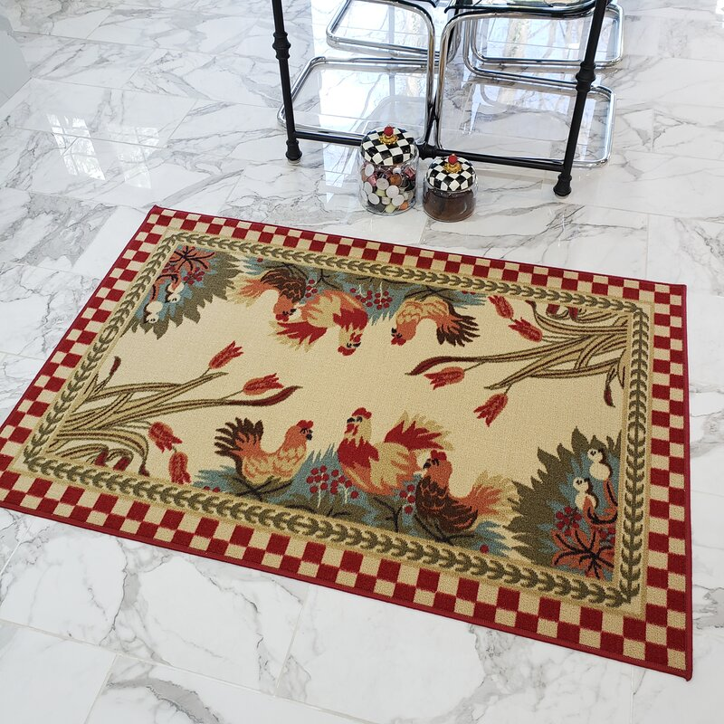 Harmon Rooster Checkered Cream/Red Kitchen Area Rug