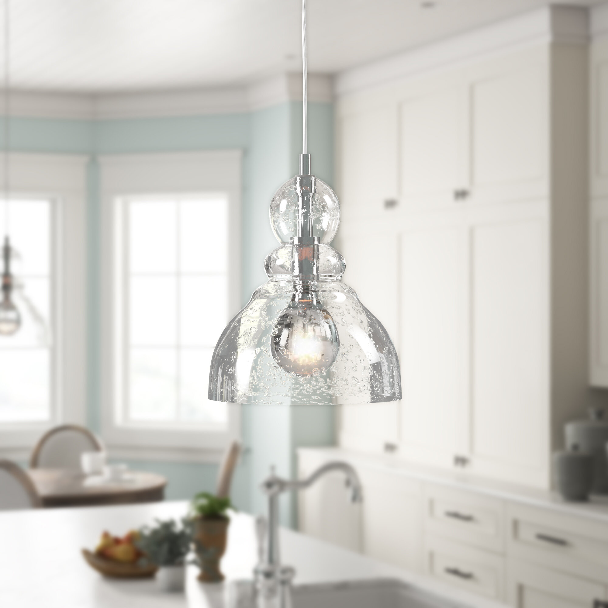 PENDANT CLEAR GLASS SHADE LIVING DINING ROOM KITCHEN ISLAND CHANDELIER 1 LIGHT