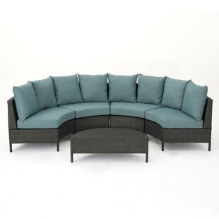 Zanders 5 Piece Rattan Sectional Seating Group with Cushions
