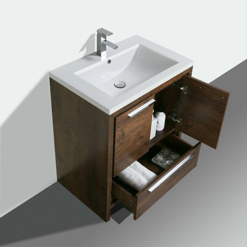 Langley street almendarez free standing modern 30 single bathroom vanity set reviews for Free standing bathroom vanities