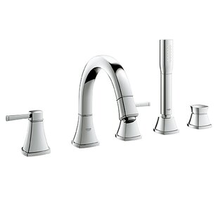 Grohe Grandera Double Handle Deck Mount Roman Tub Faucet with Hand Shower