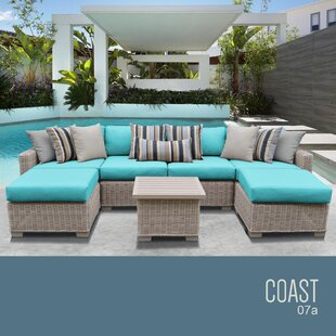 TK Classics Coast 7 Piece Rattan Sectional Set with Cushions