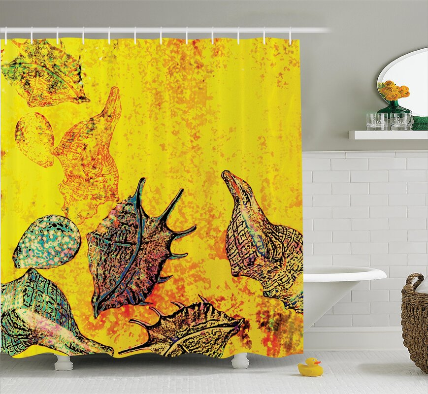 Stylized Seashells Shower Curtain