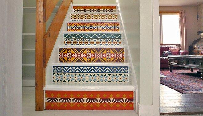 Diy Fair Isle Painted Stairs Renovation Wayfair Co Uk