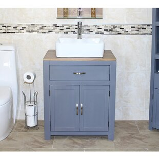 Breanna Solid Oak 70mm Free-Standing Vanity Unit By August Grove